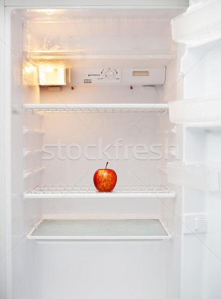 Pusty lodówka biały jabłko wewnątrz żywności Zdjęcia stock © THP