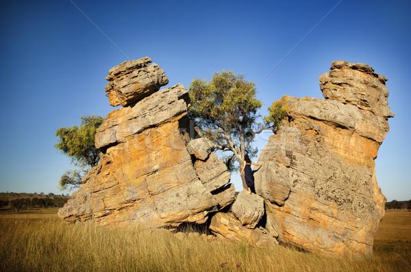 Split Rocks with Woman Stock photo © THP