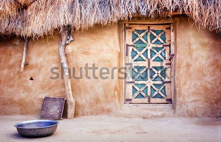 Aldeia cabana deserto Índia Foto stock © THP