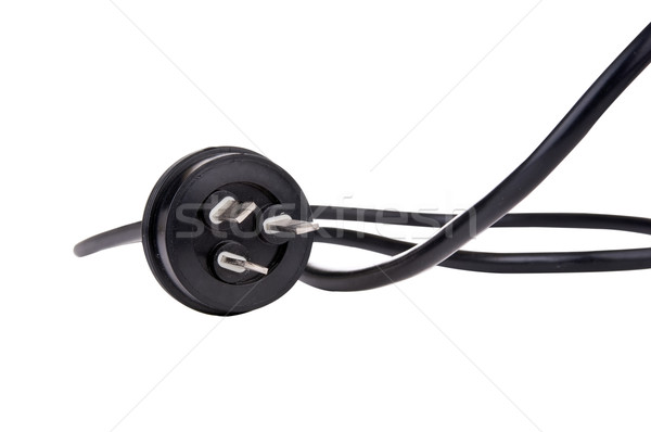 Stockfoto: Zwarte · koord · plug · elektrische · geïsoleerd · witte