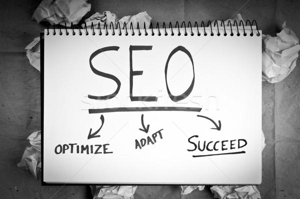 Seo business internet successo li in bianco e nero Foto d'archivio © THP