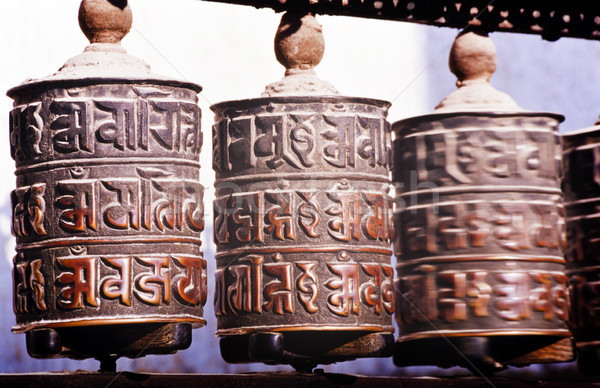 Oração rodas gravado adorar asiático antigo Foto stock © THP