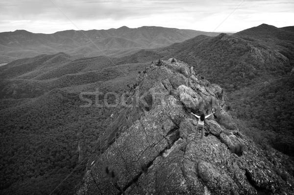 Woman on Mountain Top Stock photo © THP