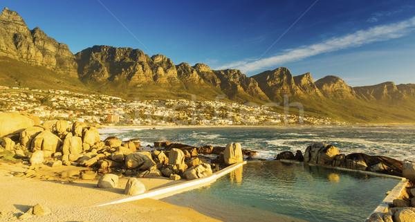 Foto stock: Doze · pôr · do · sol · África · do · Sul · praia · céu · natureza