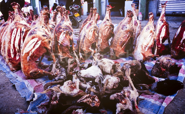 Asian viande marché brut animaux Photo stock © THP