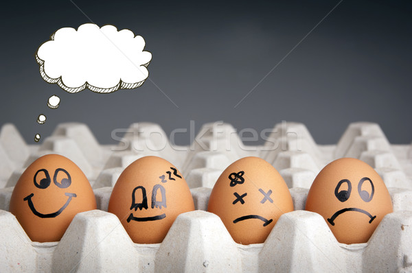 Thought Balloon Egg Characters Stock photo © THP