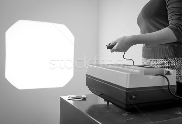Retro Slide Projector Woman Black and White Stock photo © THP