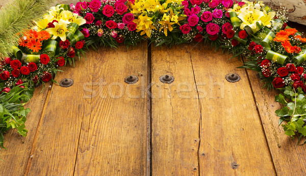 Floral Arrangement On Wood Stock photo © THP