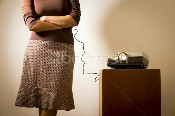 Retro slide projector vrouw afstandsbediening meisje Stockfoto © THP