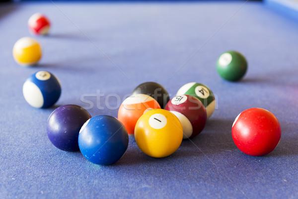 Bilardo oynama havuz bilardo masası eğlence Stok fotoğraf © THP