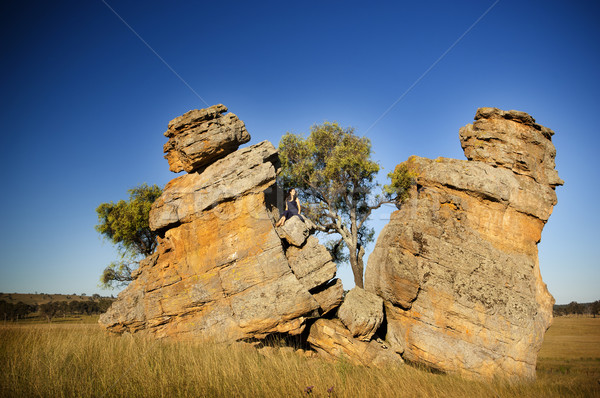 Split Rocks with Woman Stock photo © THP