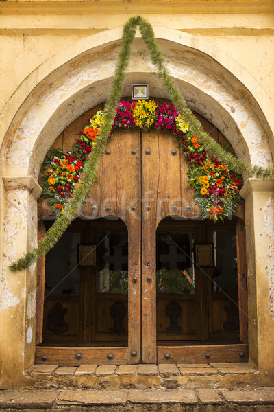 Wooden Church Doorway With Flowers Stock photo © THP