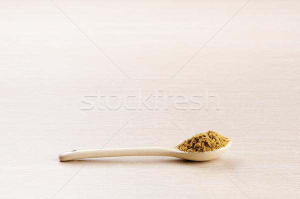Grond komijn lepel houten exemplaar ruimte blad Stockfoto © THP
