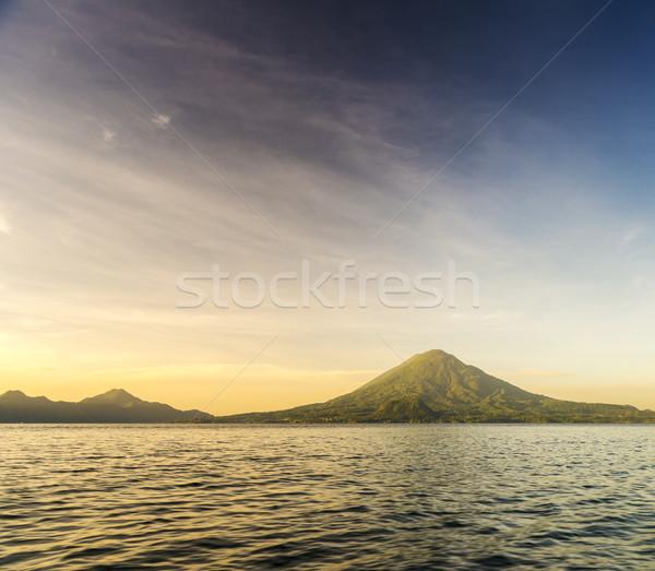 Lago Guatemala nascer do sol central américa céu Foto stock © THP