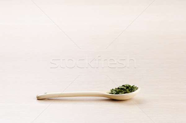 Coentro colher cópia espaço madeira folha Foto stock © THP