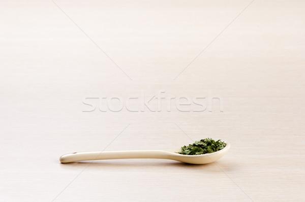 кориандр ложку копия пространства древесины лист Сток-фото © THP