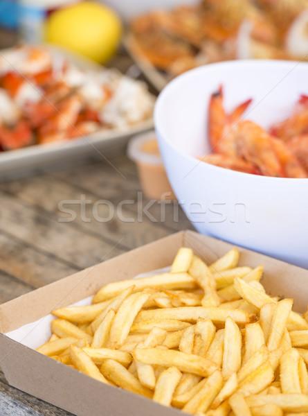 Australisch zeevruchten lunch klassiek hot chips Stockfoto © THP