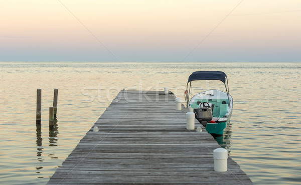 Boat And Jetty At Sunrise Stock photo © THP
