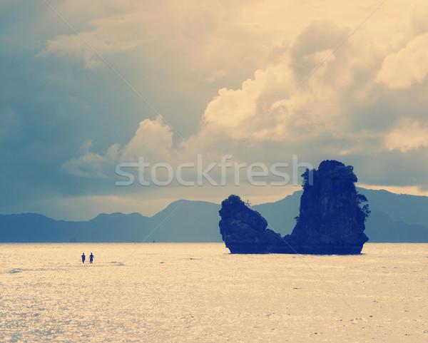 бурный люди ходьбе воды ведущий Сток-фото © THP