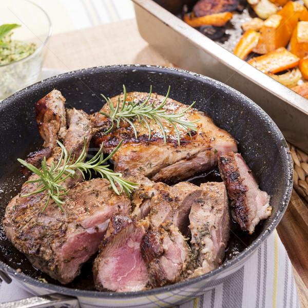 Cordero rústico pan carne cuchillo país Foto stock © THP
