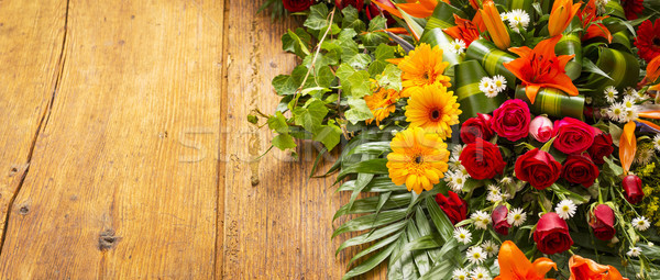 Floral Wreath On Wooden Background Stock photo © THP