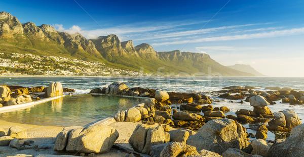 Stok fotoğraf: Okyanus · havuz · gün · batımı · şehir · dağlar · arkasında