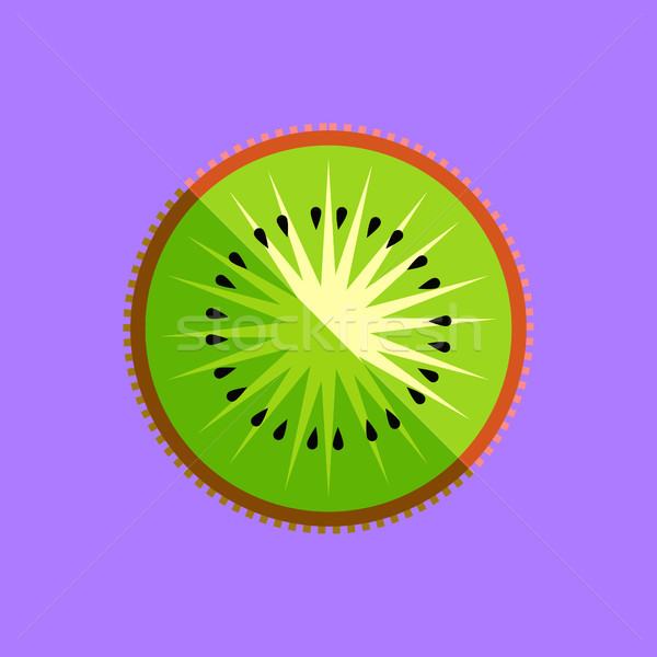 Kiwi Fruit Slice Minimalism Art Vector Stock photo © THP