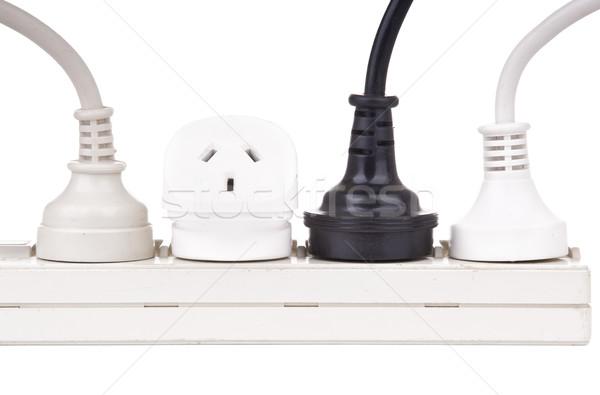 Moc odizolowany biały metal kabel przemysłowych Zdjęcia stock © THP