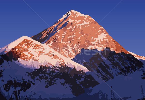 エベレスト ベクトル 山 ヒマラヤ山脈 ネパール 日没 ストックフォト © THP