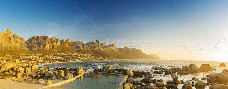 Sunset Panorama Of Camps Bay In South Africa Stock photo © THP