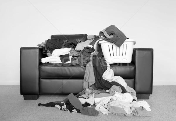 Köteg mosás házimunka nagy szennyes kanapé Stock fotó © THP