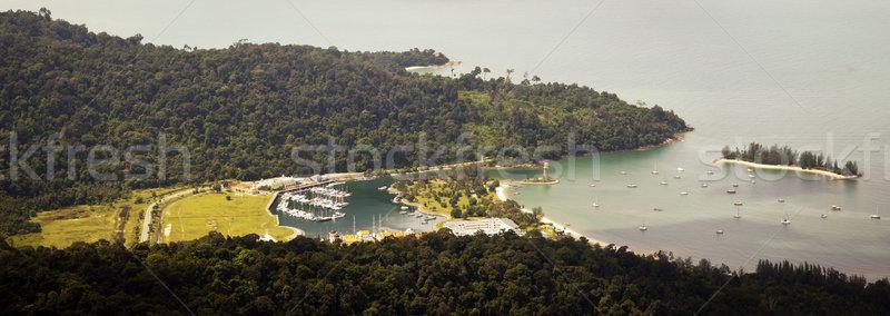 Trópusi kikötő hajók kicsi nyár kék Stock fotó © THP
