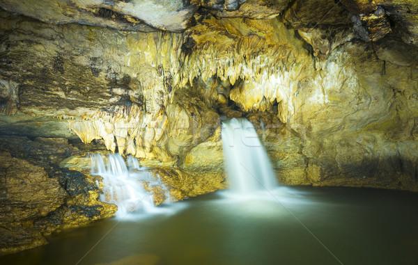 пещере водопада подземных воды зеленый путешествия Сток-фото © THP