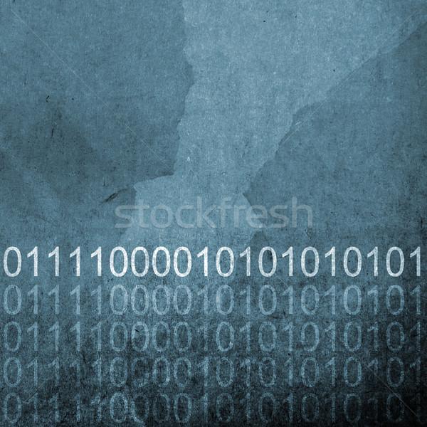 Гранж синий двоичный код аннотация бумаги текстуры Сток-фото © THP
