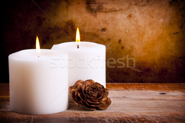 White Candles with Rose Stock photo © THP