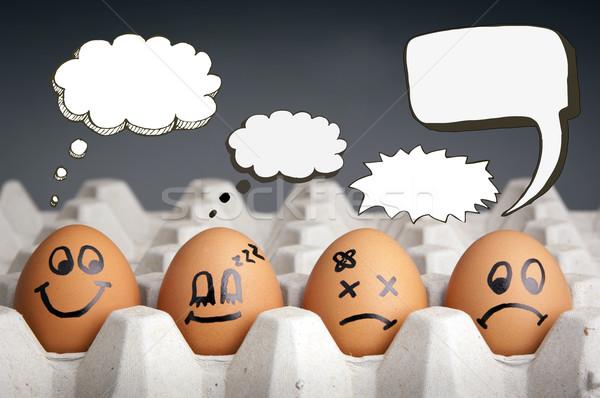 Gondolatbuborék tojás betűk mentális egészség játékos stílus Stock fotó © THP