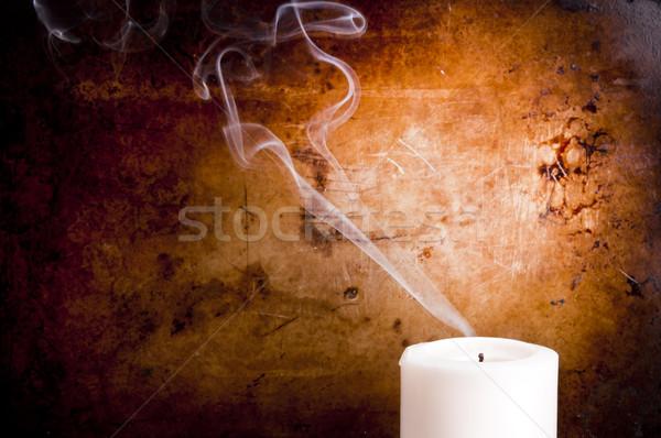Stockfoto: Kaars · rook · lijnen · uit · vintage · achtergrond