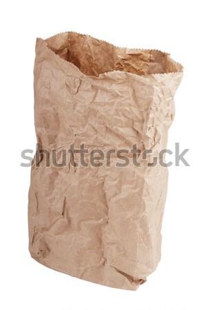 Carta marrone bag isolato bianco carta shopping Foto d'archivio © THP