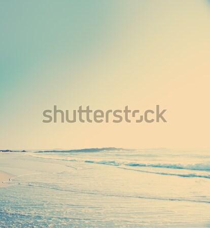 Vintage praia foto areia ondas céu Foto stock © THP