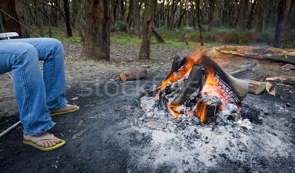 Stock fotó: Láb · tábortűz · személy · alkonyat · kempingezés · erdő