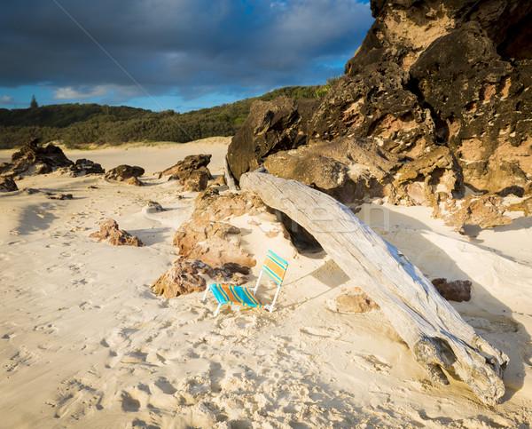 şezlong eski kum gündoğumu dev parça Stok fotoğraf © THP