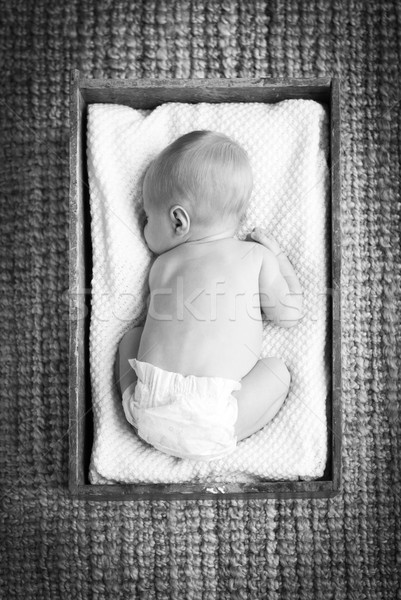 Newborn Baby In Crate Black and White Stock photo © THP