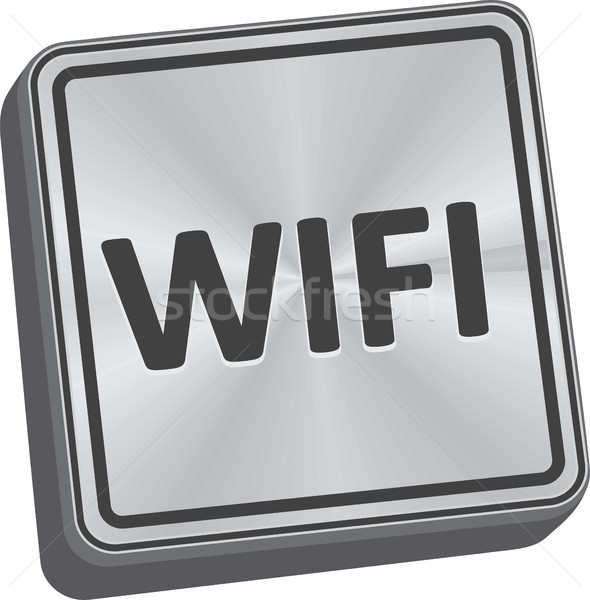 Wifi knop 3D sleutel technologie metaal Stockfoto © THP