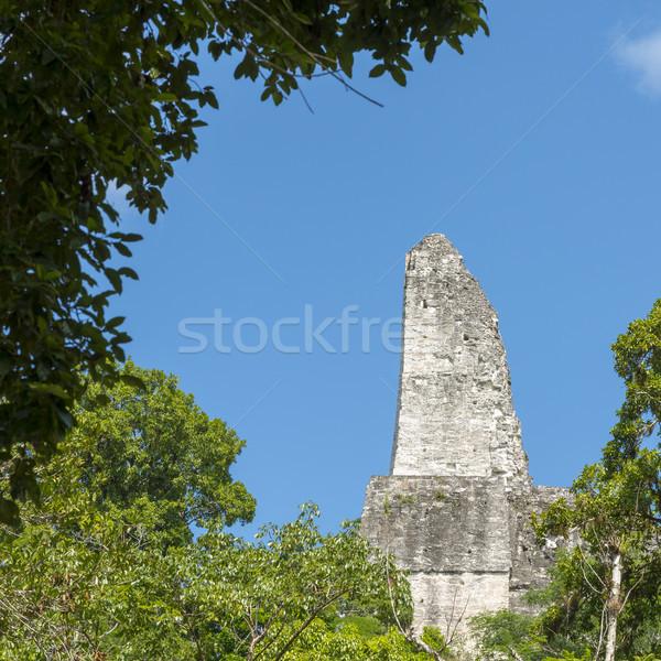 Temple 4 Roof Comb Tikal Guatemala Stock photo © THP