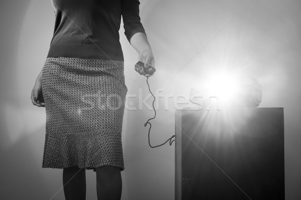 Retro Slide Projector Woman Black and White Stock photo © THP