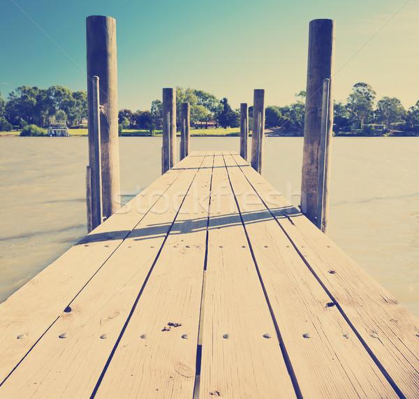 Folyó fából készült Dél-Ausztrália égbolt víz fa Stock fotó © THP