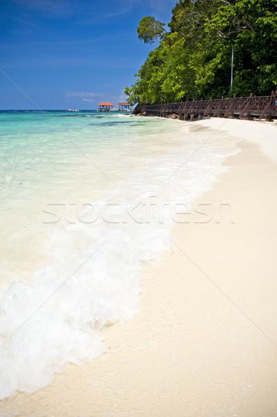 édenkert tengerpart tökéletes fehér homok helyszín víz Stock fotó © THP