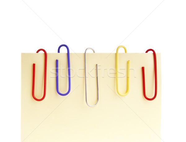 Schrijfpapier kleurrijk Geel sticky note geïsoleerd witte Stockfoto © THP