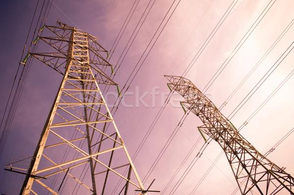 Távvezeték naplemente technológia keret hálózat kábel Stock fotó © THP