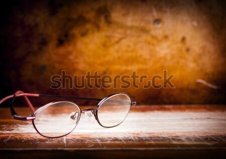 Oude bril bureau paar houten grunge Stockfoto © THP